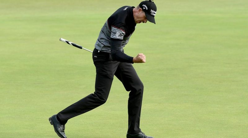 TROON, SCOTLAND - JULY 17: Henrik Stenson of Sweden reacts to a birdie putt on the 15th green during the final round on day four of the 145th Open Championship at Royal Troon on July 17, 2016 in Troon, Scotland. (Photo by David Cannon/R&A/R&A via Getty Images)
